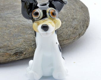 TERRI the  Lampwork Glass Bead Terrier Dog , Glass Sculpture Collectible, Focal Bead, Izzybeads SRA