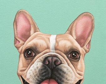 Custom Pet Portrait, 8x10 Colorful Dog Painting, French Bulldog Painting, Frenchie Lover Gift, Pure Breed Dog Art, Birthday Gift Dog Lover