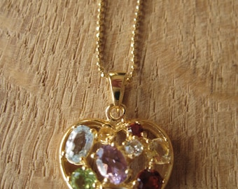 """Sterling Silver Gold Accent  Multistone Healing Chakra Heart Pendant Chain 17.5"""" (1226)"""