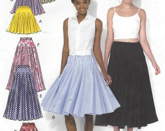 Womens Skirts with Godets Flared Skirts in 2 Lengths McCalls Sewing Pattern M7097 Size 6 8 10 12 14 Hip 32 33 34 36 38 UnCut