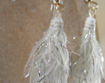 Earrings White cotton with sliver metallic accent Fiber Beads