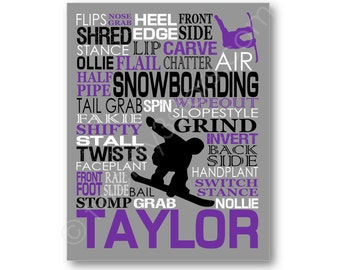 Snowboarding Typography Poster, Snowboard Canvas, Snowboard Gift, Snowboarder Gift, Snowboard Wall Art, Personalized Snow Boarding Gift