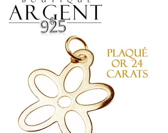 Disk 925 sterling silver gold plated 22 mm flower charm