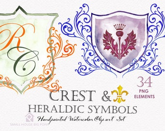 Digital Clipart- Crest Clipart,Shield Clip art, Clipart, wedding invitation clip art- 16 watercolor crest design