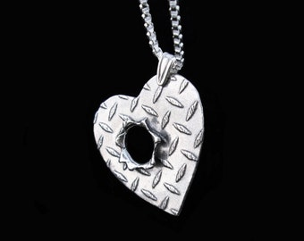 Bullet hole necklace Sterling Silver jewelry pendant Bullet necklace Diamond plate Silver necklace Bullet jewelry handmade N-301