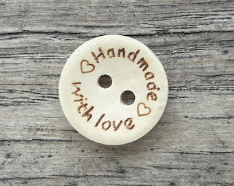 """5 buttons, wood, """"Handmade with love"""", 15mm, 20mm or 25mm"""