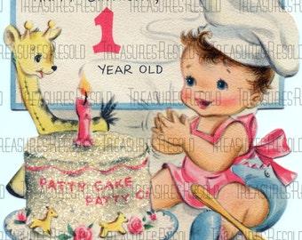 Happy Birthay One Year Old Patty Cake Card #334 Digital Download