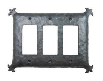 Rustic Spanish Revival Iron Triple GFI Decora Switch Plate EPH332