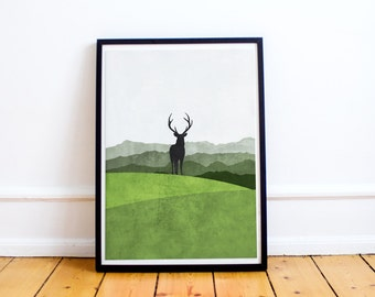 Scandinavian Print - Stag in the Woods - Modern Art Print - Wall Art - Scandinavian Modern - Home Decor - White Wall Art - Nature - Travel