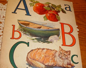 ABC Children's Antique Victorian Pictorial Graphic Alphabet Book 1900s