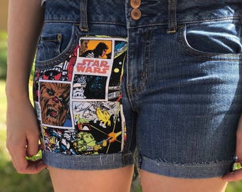 Upcycled Shorts/ Starwars Comic