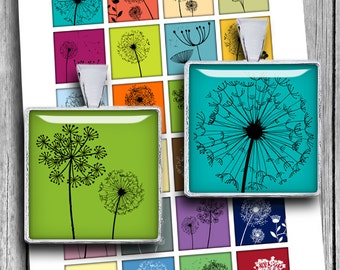 """Dandelion Silhouettes 1x1"""" 0.75x0.83"""" 1.5x1.5"""" images for Jewelry Scrabble tile images Printable Digital Collage Sheet - Instant Download"""