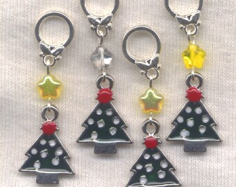 Christmas Tree Knitting Stitch Markers Xmas Christmas Trees Enameled Set of 4/SM138B