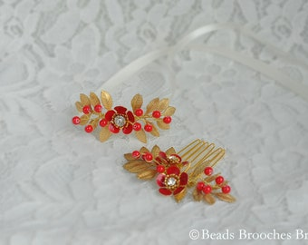 Gold Leaf Hair Comb,Red Flower Comb,Gold Leaf Bracelet,Red Flower Bracelet,Red Gold Bridal Headpiece,Red and Gold Wedding Headpiece