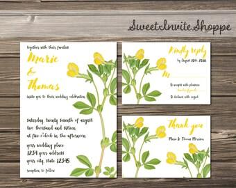 Botanical Wedding Invitation Set, Yellow Lotus Invitation, Boho Floral Wedding Invitation, Vintage Botanical Invitation, Rustic Invitation