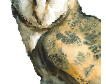 "Barn Owl art- ""Mice on My Mind"" -large print after original watercolor"