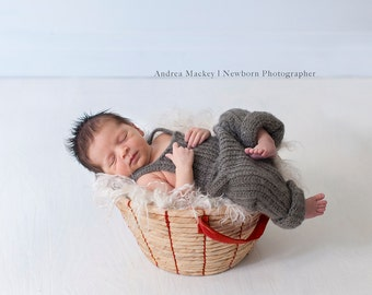 Mohair Overalls / Newborn Photography Prop / Baby Boy Prop / Brown Gray Overalls / Australian Seller