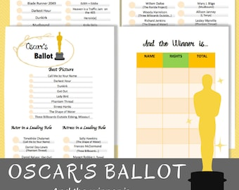Oscar Party 2018, Oscar Ballot, Oscar Voting Ballot, Oscar Party, Academy Awards, Academy Awards Ballot, Oscar Party Game, Oscars Party Game