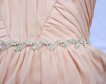 Thin bridal belt Crystal Rhinestone belt Bridesmaid belt Thin wedding dress belt Ivory sash belt Thin sash Thin Bridal headband