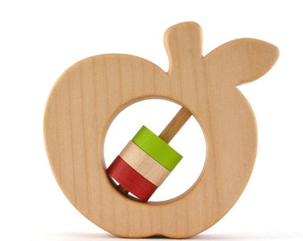 Personalized Apple Baby Rattle - Choose Your Own Colors - Wood Baby Rattle
