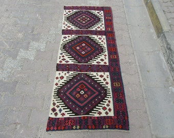 2.5x6.1 Ft Handwoven vintage Turkish mini runner kilim rug