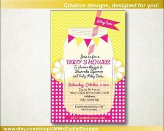 Pink lemonade baby shower, Pink Lemonade Baby Shower Invitation, Lemonade Baby Shower Invitation, Printable invitation, Instant download