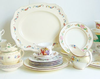 Set of Fine China Mix Match of Vintage Antique Serving Platter Dinner Plates Chintz 8 Tea Cups & Saucers Bowls All Marks Present Fine Dining