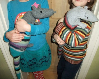 DIY Armadillo Animal Sewing Pattern - Plush Wool Soft Toy - Upcycled Felted Sweater Jumper