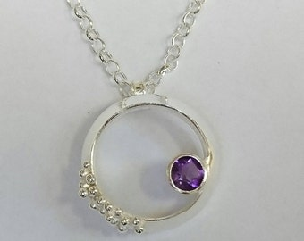 Sterling silver handmade amethyst necklace with granulation, hallmarked in Edinburgh