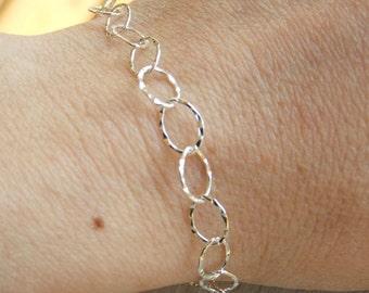 Silver chain bracelet, women sterling silver bracelet, hammered silver bracelet, dainty bracelet, chain bracelet, dainty silver bracelet