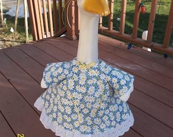 Goose Dress - White Flowers on Blue Background