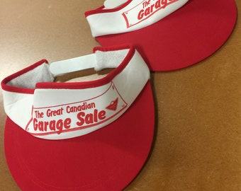 Lot of 2 Vintage vtg 80s 70s CANADIAN TIRE visor visors Canadiana rare Cameo headwear Deadstock hardware store shop