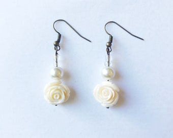 white pearl and rose earrings