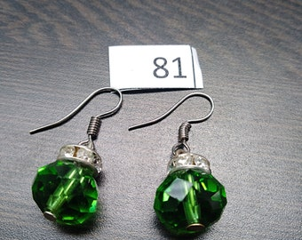 Green with Diamond Accent Earrings