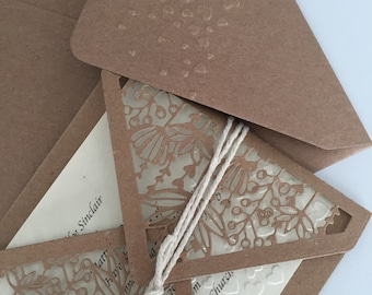 Rustic gate fold hand tied wedding invitation