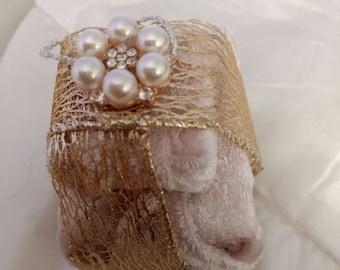 Cream velvet parcel Christmas decorations