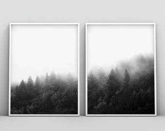 2 Piece Forest Printable, Forest Art, Black and White Forest, Minimalist Landscape, Trees, Fog, Top Selling, Nature Photography Prints Set
