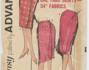 1960's Advance 2772 Misses' Slim Fit One Yard Reversible Wrap Skirt Vintage Sewing Pattern Waist 26 UNCUT