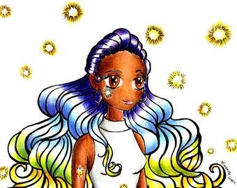 Disco Lights Print, Art Print, Wall Hanging, Illustration Print, Gift for Her,Manga Art Print, Manga Style Print,Disco Manga Print