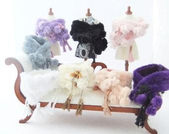 Miniature Dollhouse 1/12th Scale Faux Fur Beaded Tasseled  Stoles