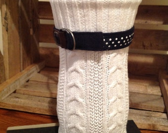 Sweater Vase White Cable Knit Recycled Up-cycled Repurposed Handmade Art Unique Gift Idea Modern Home Decor Flowers Sticks Navy Nautical Dot