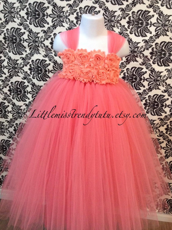 Vestido coral Coral flor niña Tutu vestido vestido de niña