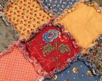 Rag Quilt – Blue, Yellow, Red, Green, Cream, Peach – Rag Quilt Throw – Country - Primitive - Floral - Patchwork - Quilt – Ready to Ship