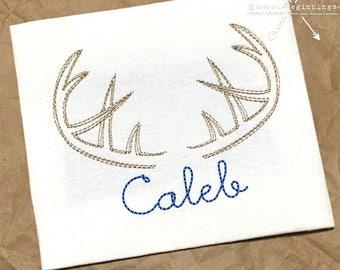 Deer Antler Embroidery Shirt / Personalized Antler Shirt / Hunting Shirt / Boy Antler Shirt / Girl Antler Shirt / Deer Applique / Buck Shirt