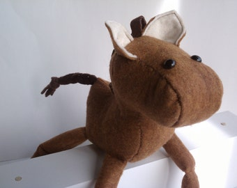 Horse stuffed animal- Brown and dark brown