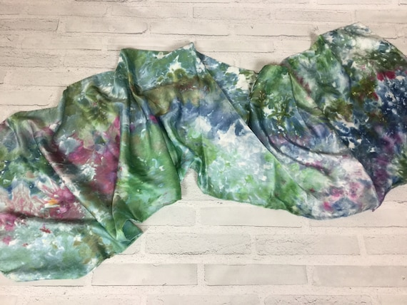 "100% Silk Scarf Ice Dyed in Beautiful Enchanted Forest Colors Artistic Watercolor Office Scarves 15""x60"" Oblong Rectangle Coworker Gift #170"