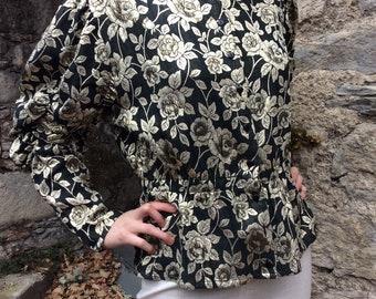 1980's Gold & Black vintage peplum blouse, Korae Switzerland