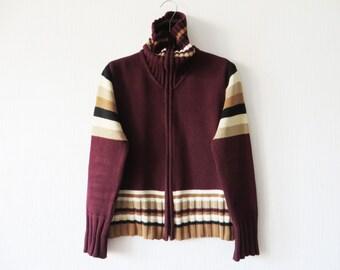 Turtleneck Jacket Knit Cardigan Maroon Jacket Women Zip up Jacket Knitted Marsala Jacket Striped Cardigan Free Time Jacket Medium Size