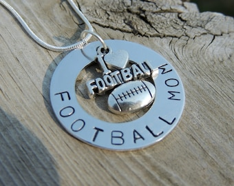 Necklace for football moms, Football jewelry with football charm, Personalized sports necklace for mom, grandma, girlfriend, club manager
