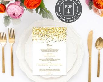 Gold Printable Menu Template | Instant Download Wedding Menu, Printable Menu, Confetti Wedding Menu, DIY Wedding Menu Template, 009